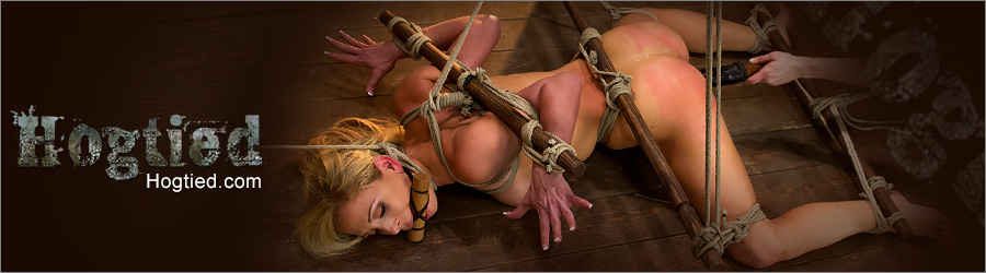 Hogtied rope bondage